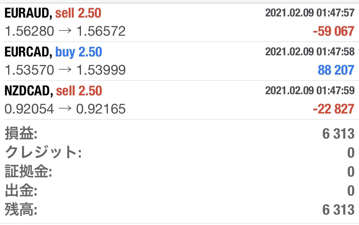 2月9日(火)+6313円